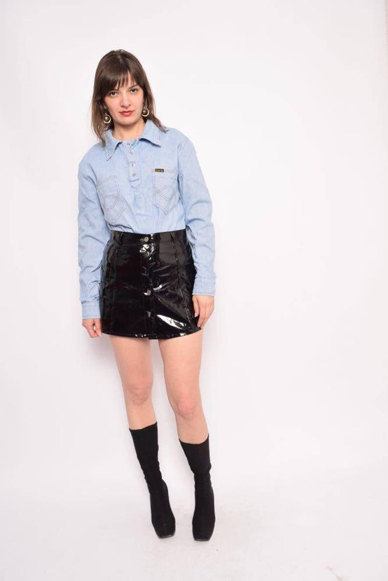 dfd52a51b3 Vintage 70's Light Blue Snap Button Up Denim Shirt / Long | Etsy
