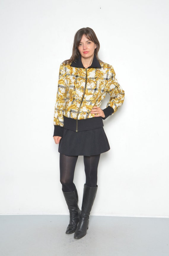 Vintage Baroque Silk And Wool Printed Bomber /90s… - image 1
