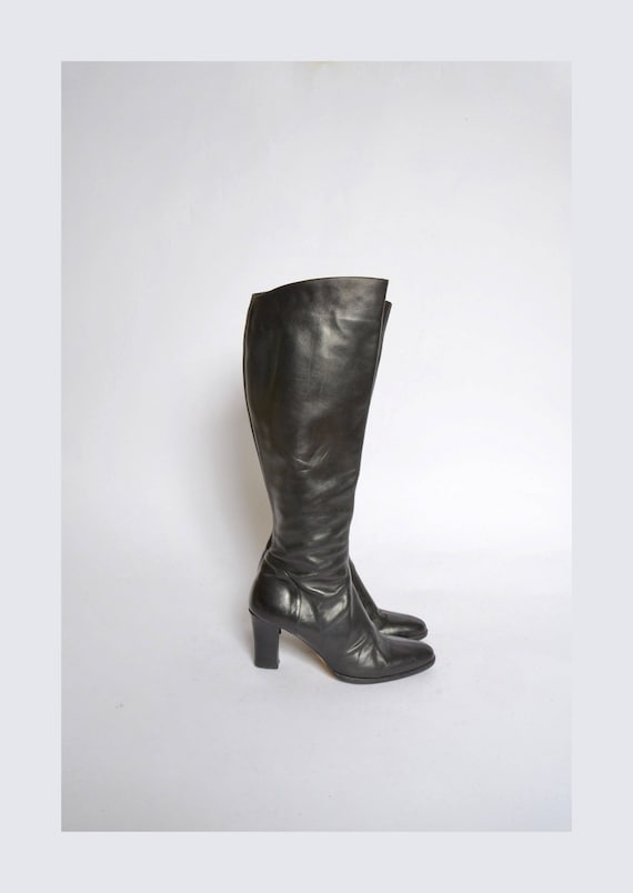 Vintage 90's Tall Black Leather Zipper Boots