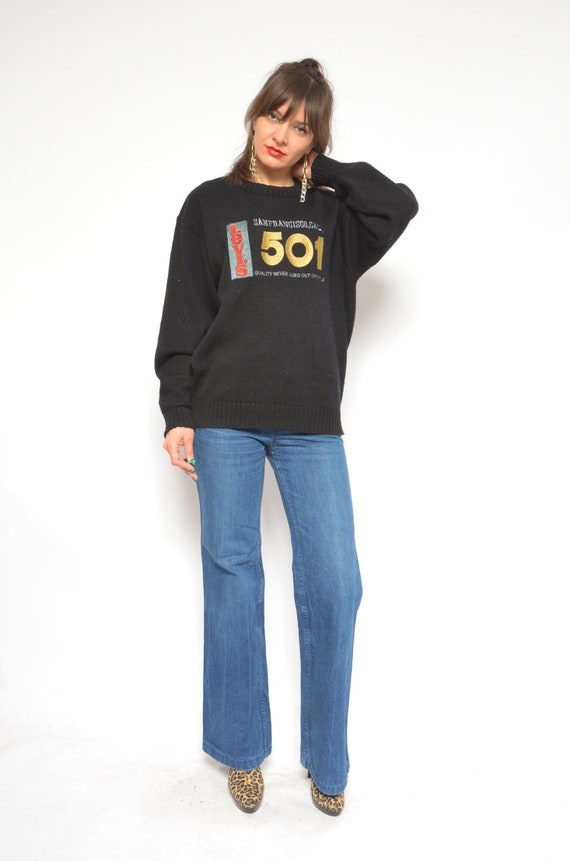 Levi's 501 Sweater / Vintage 90s Black Knit Levi's