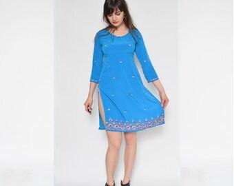 Vintage Turquoise Beaded Indian Tunic Dress