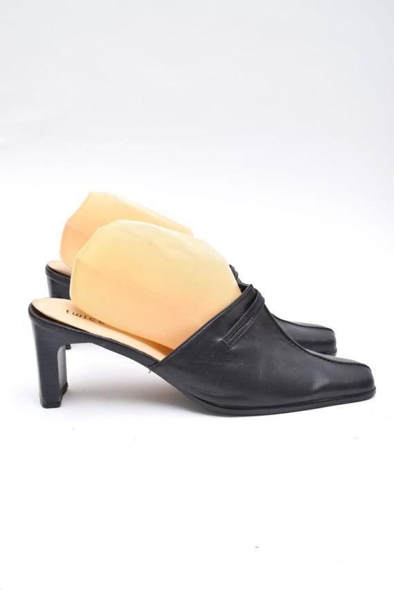 Vintage 90's Black Leather Chunk Heel Mules - image 4