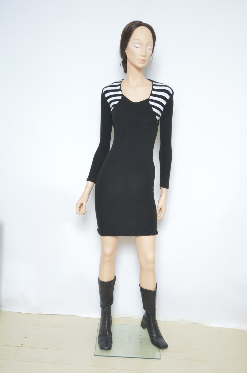 Size Small Ribbed Dress  Vintage 90/'s Long Sleeve Striped Tight Dress