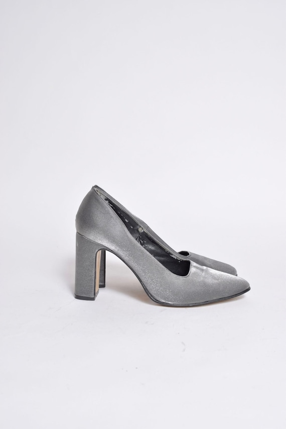 Vintage 90's Silver Chunky Heel Shoes