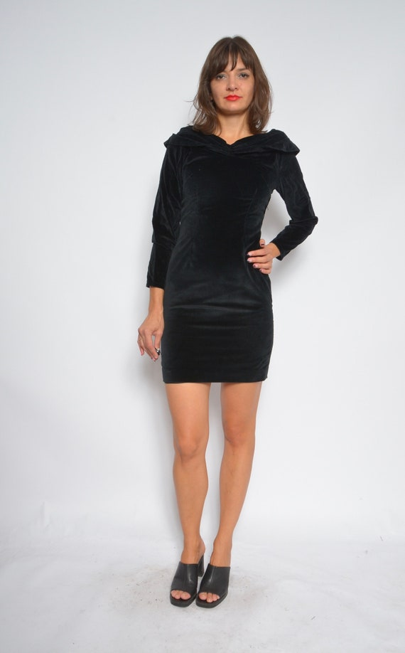 Velvet Mini Dress Vintage 80s Long Sleeve Tight Black Dress Etsy