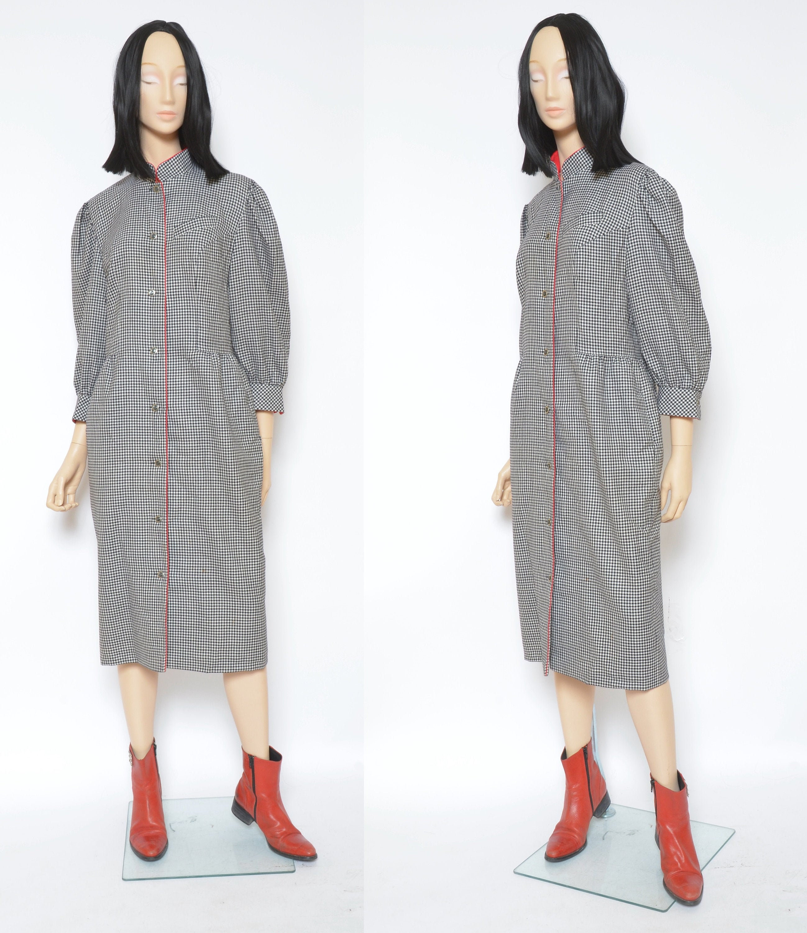 80s Dresses | Casual to Party Dresses Micro Houndstooth Wool DressVintage 80S Puff Big Sleeve Button Long - Size Large $8.00 AT vintagedancer.com