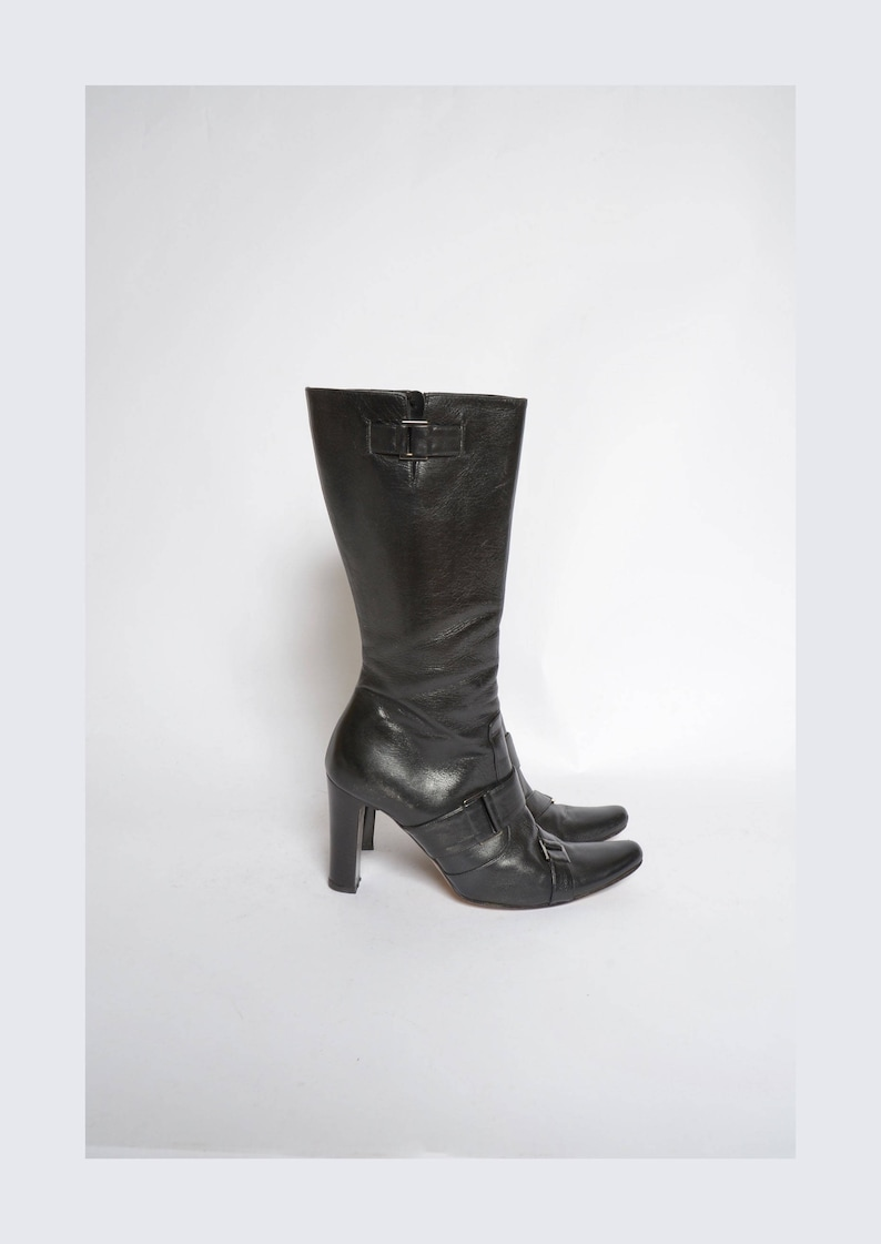 5a70a16dd704e Vintage 90's Black Leather Boots with Buckles
