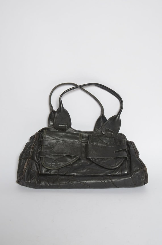 Vintage Black Leather 1990's Mini Handbag
