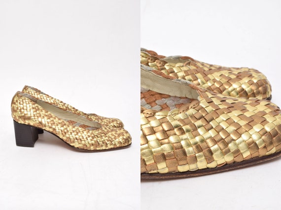 Vintage 90's Woven Gold and Bronze Chunky Heel Lea