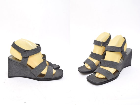 Vintage 90's Grey Fabric Chunky Heel Wedge Velcro