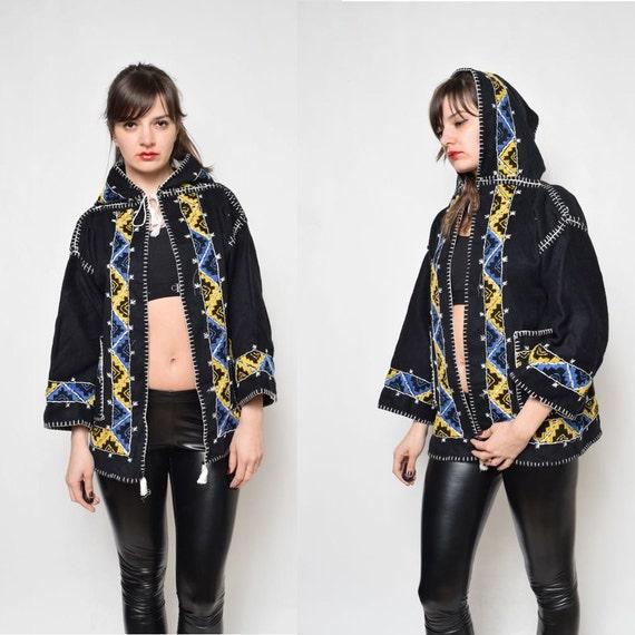 Vintage Embroidered Folk Hooded Jacket/Blazer