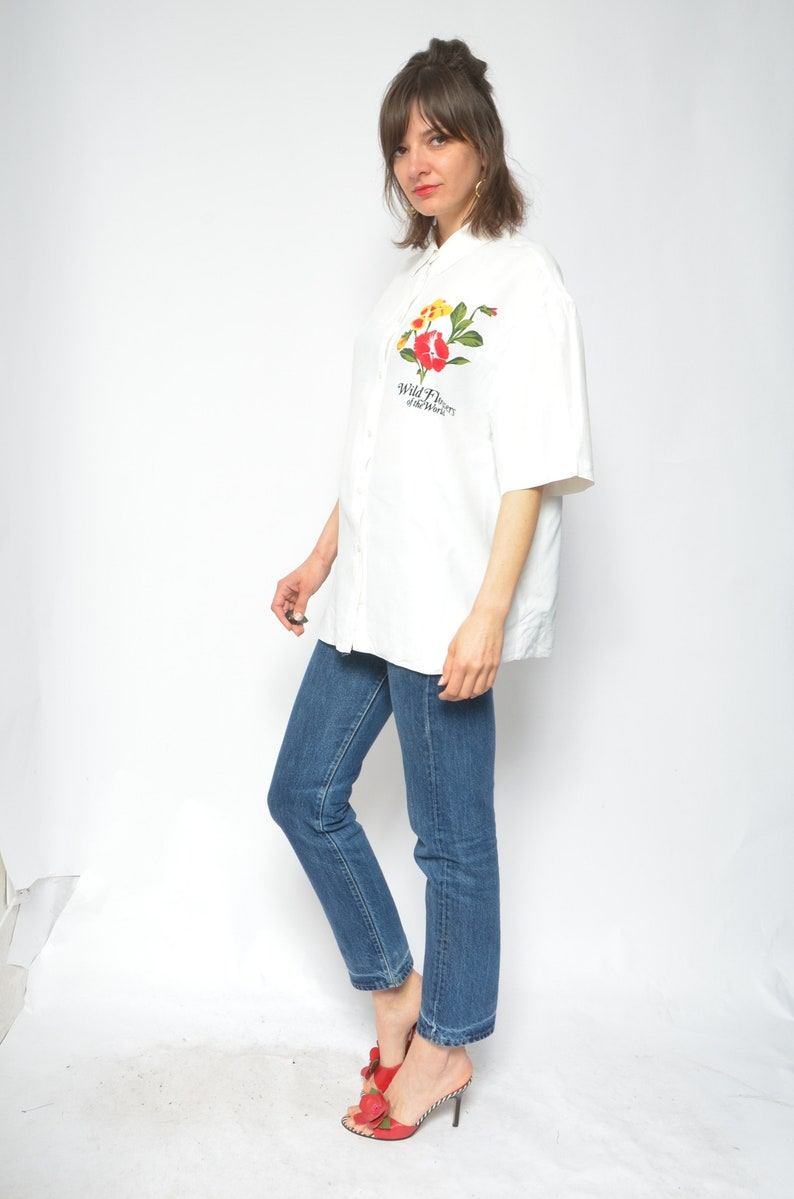 Wild Flower Print Blouse  Vintage 90s Short Sleeve White Button Shirt  Floral Top Size Extra Large