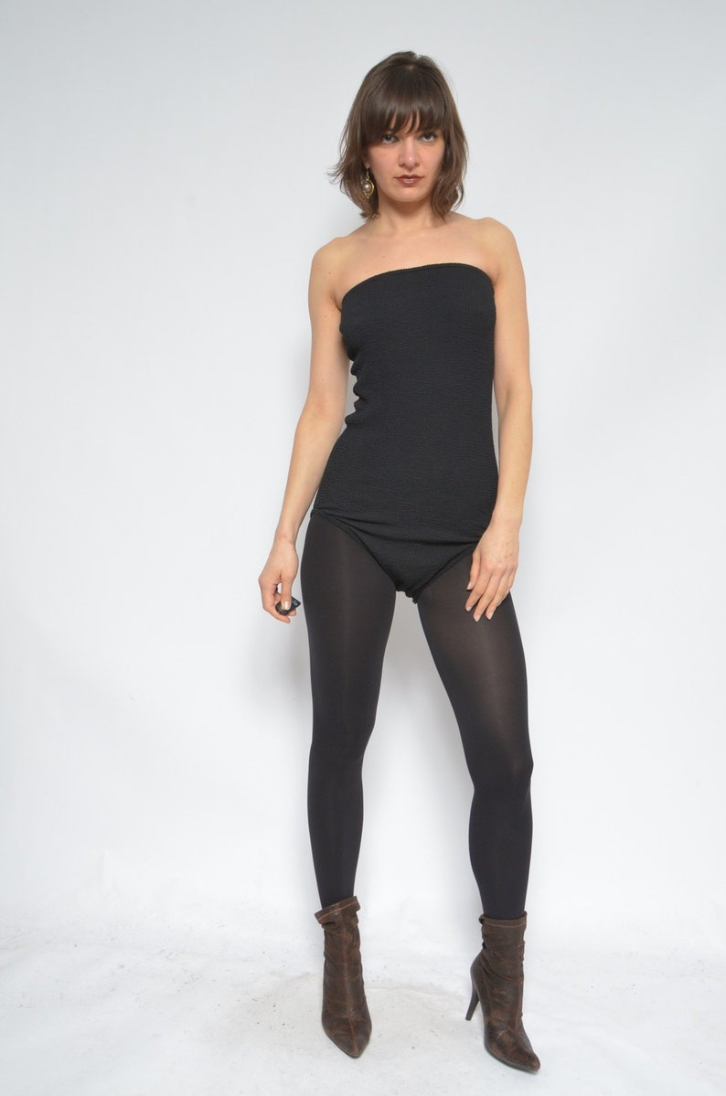 Size Large Strapless Ribbed Leotard  Vintage 80s Sleeveless Black Blouse