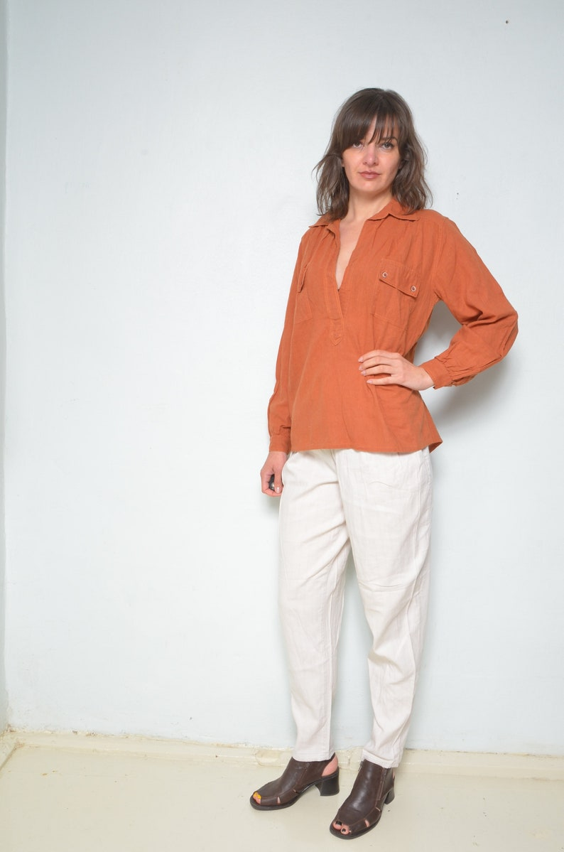 Burnt Orange Shirt  Vintage 80s  Deep Neck Long Sleeve Front Pocket Oversized Blouse  Summer Top Size Medium