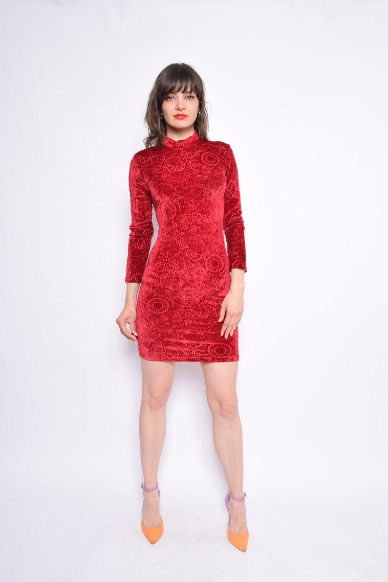 89fe88d05b Vintage 90 s Red Textured Velvet Mini Dress   Long Sleeve