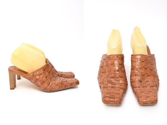 Vintage 90's Woven Brown Square Toe Leather Mule S