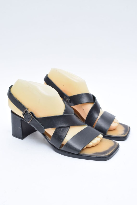 Vintage 90/'s Black Leather Strappy Sandals with Buckles Size 37