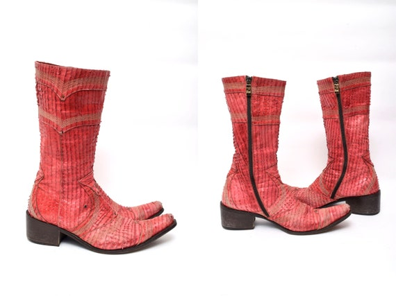 Vintage 90s Italian Leather Red Cowboy Boots with