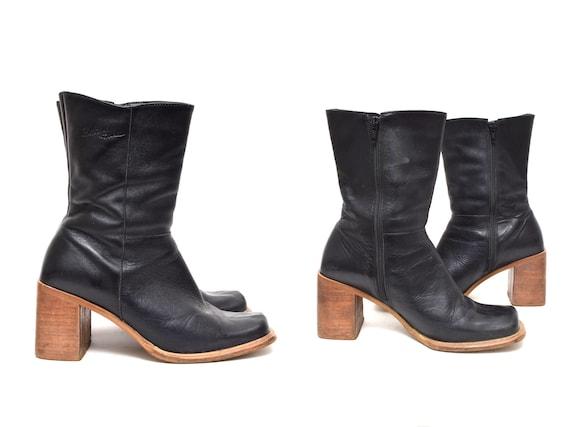 Vintage 90's Black Leather Platform Boots with Bro
