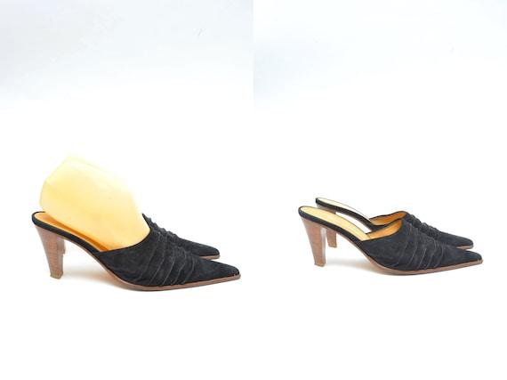 Vintage 90's Black Suede Leather Slide Sandal Clog
