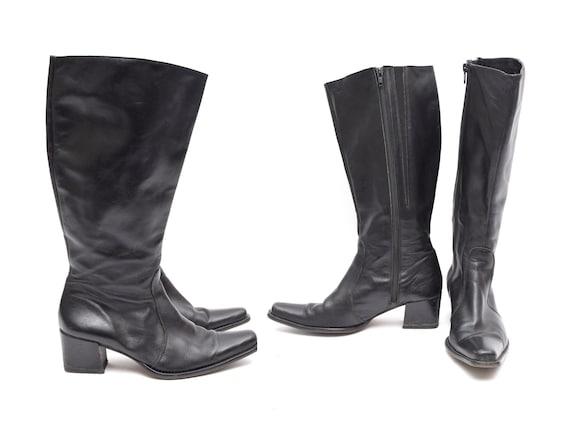 Vintage 90's Black Leather Western Style Zipper Ch