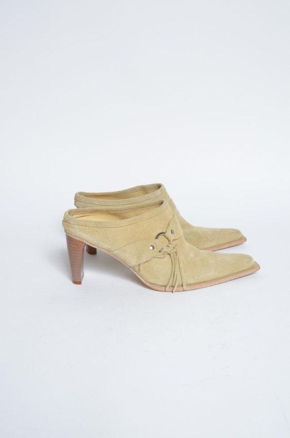 Vintage 90's Tan Beige Suede Western Leather Slipp