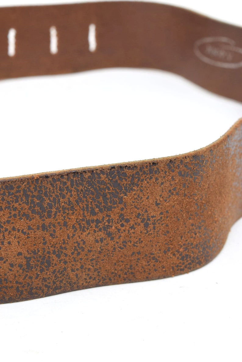 Vintage 90/'s Brown Distressed Leather Belt with Large Square Silver Metal Buckle