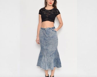 Vintage 80's Acid Wash Denim Mermaid High Waist Skirt