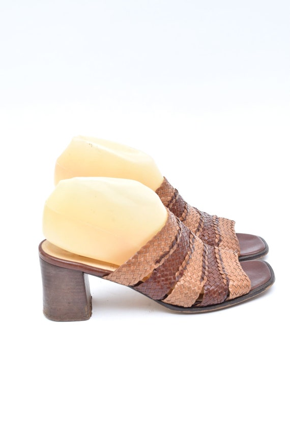 Vintage 90's Woven Brown Leather Chunky Heel Slip… - image 2