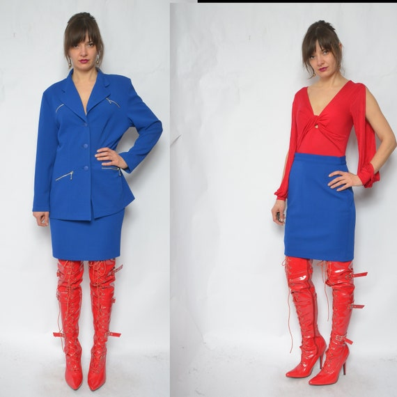 Two Piece Skirt Suit / Vintage 90s Blue Button Poc