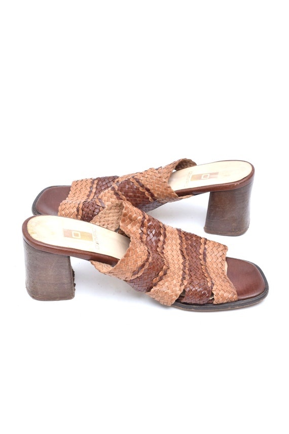 Vintage 90's Woven Brown Leather Chunky Heel Slip… - image 6