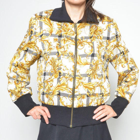 Vintage Baroque Silk And Wool Printed Bomber /90s… - image 5
