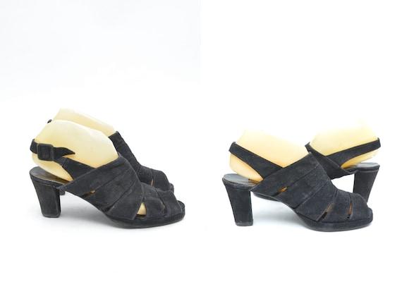 Vintage 90's Black Suede Strappy Slingback Sandals