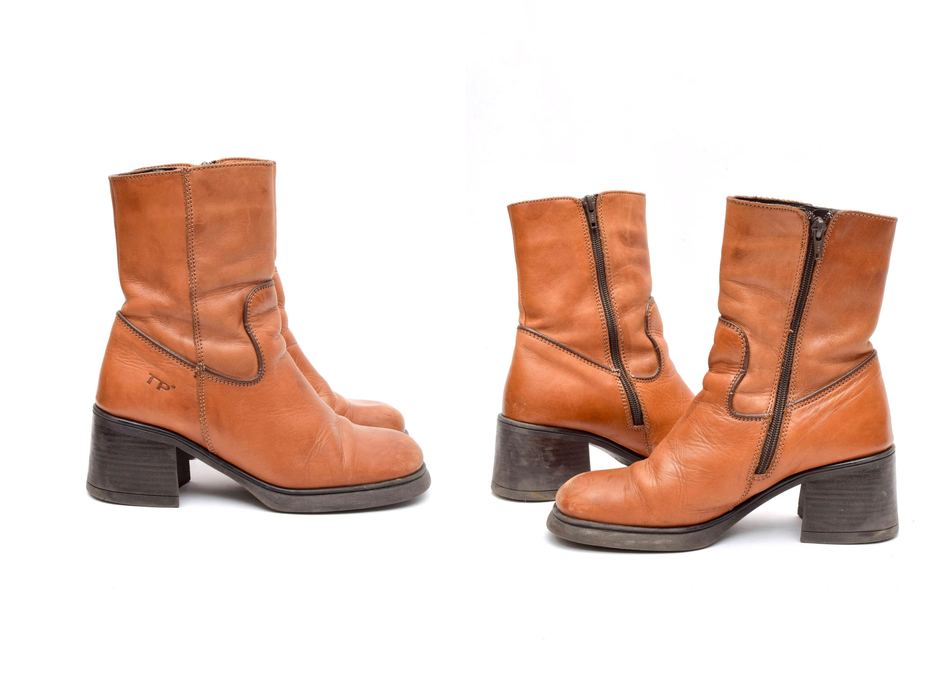 3b596ed3af66 Vintage 90 s Brown Leather Chunky Heel 70 s Style Boots with Side Zippers