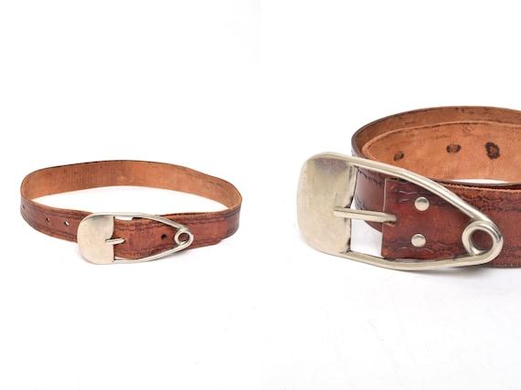 Vintage 90's Western Brown Embossed Leather Belt w