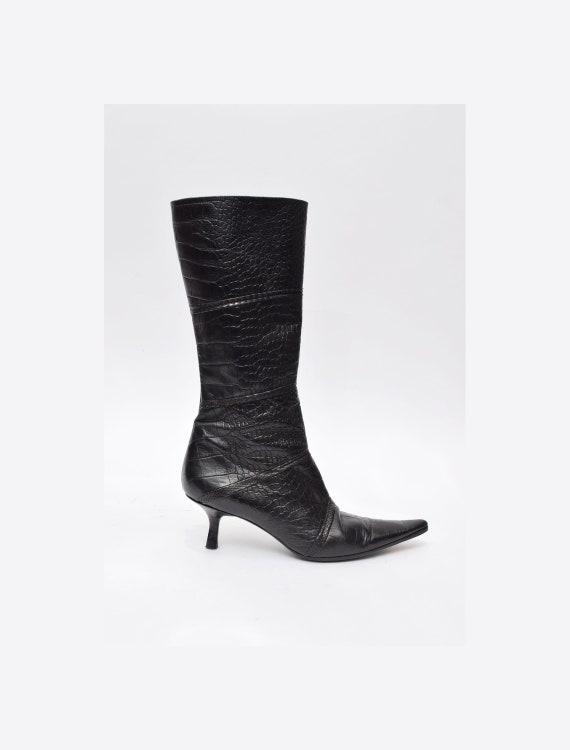 Vintage 90's Black Alligator Snakeskin Hight Heels