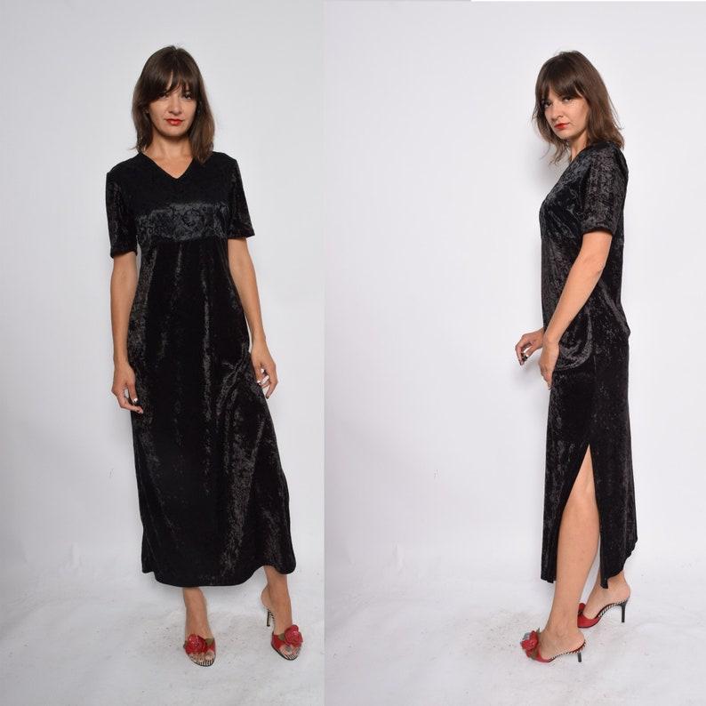 e3bba23d93b8e Velvet Maxi Dress / Black Satin And Velvet Side Slit Long Dress / Short  Sleeve Vintage 90s Grunge - Size Small