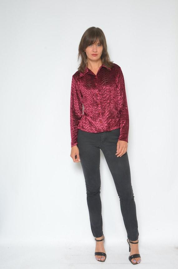Vintage 90/'s Velvet Strappy Top  Burgundy Velvet Top  Sleeveless Velvet Blouse Size Small
