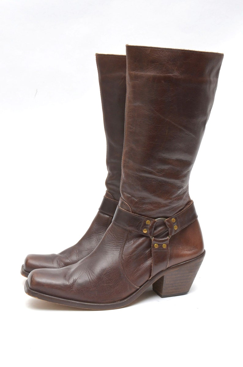 40 EU  9.5 US  7.5 UK Size Vintage 90/'s Brown Real Leather Biker Motorcycle Boots with Metal Rings