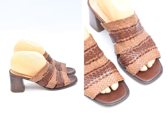 Vintage 90's Woven Brown Leather Chunky Heel Slipp