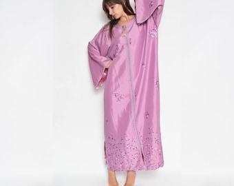 Vintage Embellished Tunic Long Maxi Glossy Dress