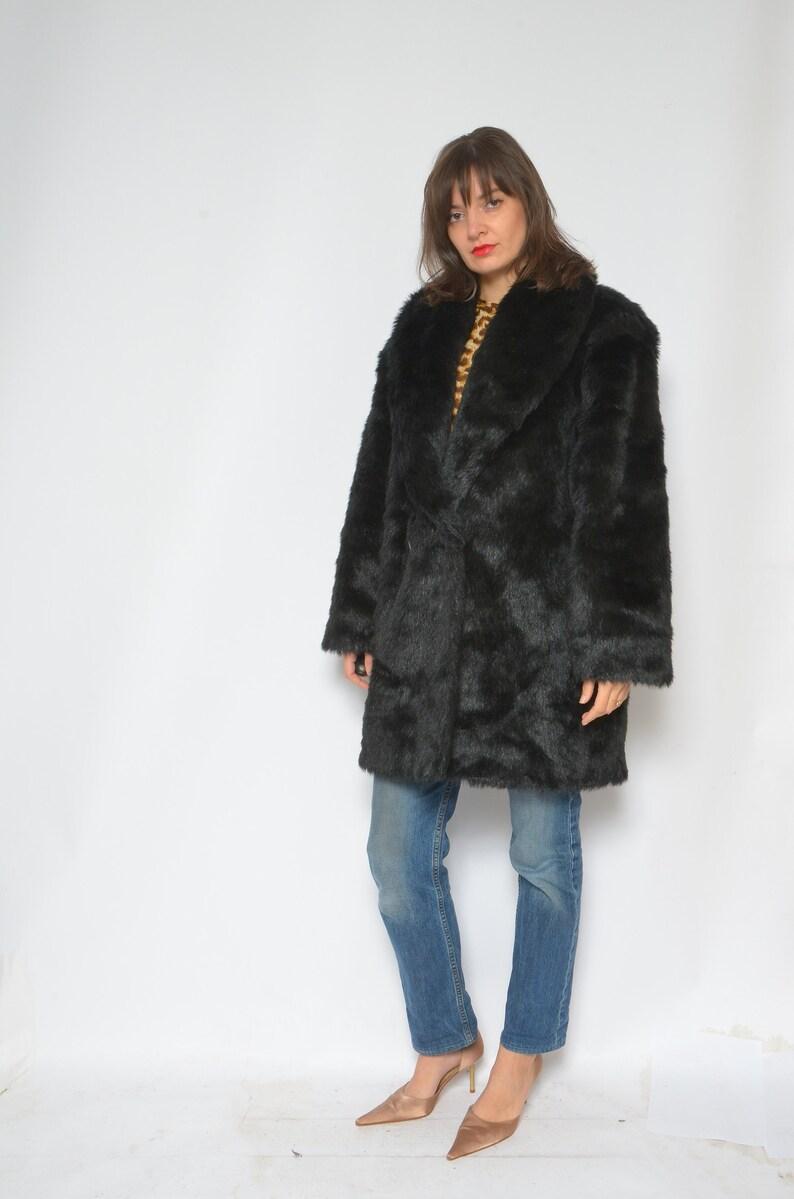 Size LXL Faux Fur Oversized Coat   Vintage 80/'s  Button Short Winter Fake Fur Jacket