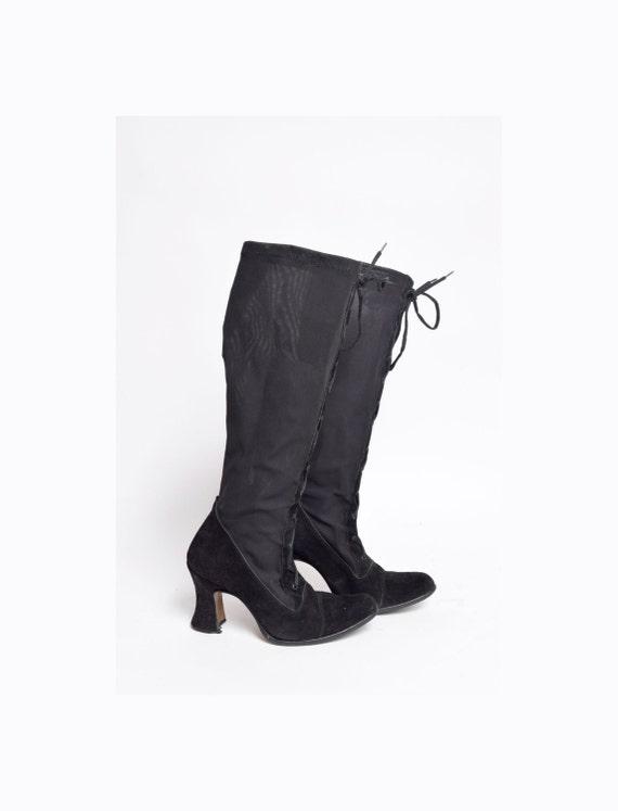 Vintage chaussette 90 Mesh haut Suede et noir talon bottes b6gf7y
