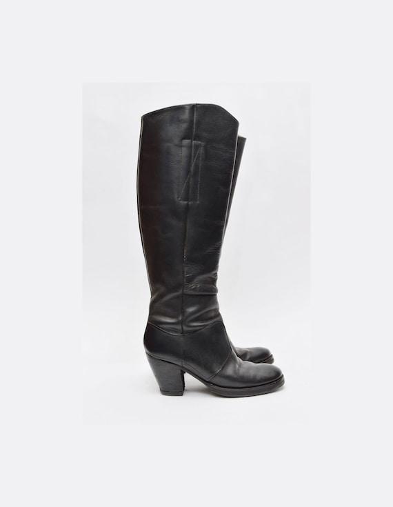 Vintage 90's Tall Black Slip On Chunky Heel Leathe