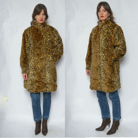 Leopard Faux Fur Coat / Vintage 80's Animal Print