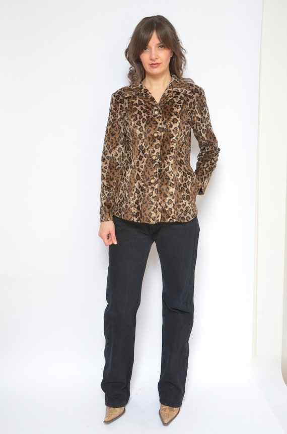 Leopard Faux Fur Blazer / Vintage 90's Button Anim