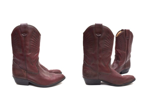 Vintage 90s Burgundy Brown Leather Cowboy Boots wi