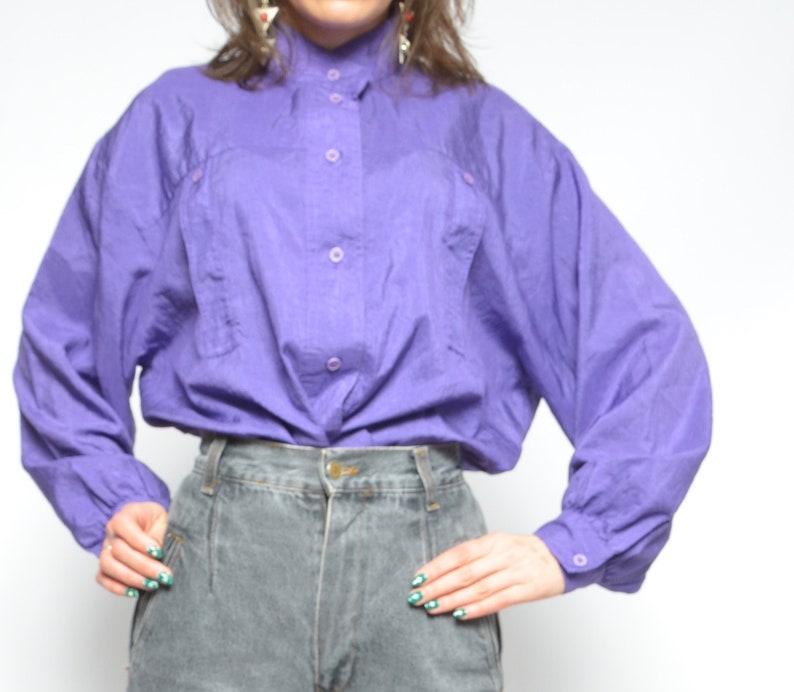 Big Sleeve Button Blouse  Vintage 80s Oversized Silk Like Long Sleeve Purple Shirt  Large Sleeve Top Size Extra Large