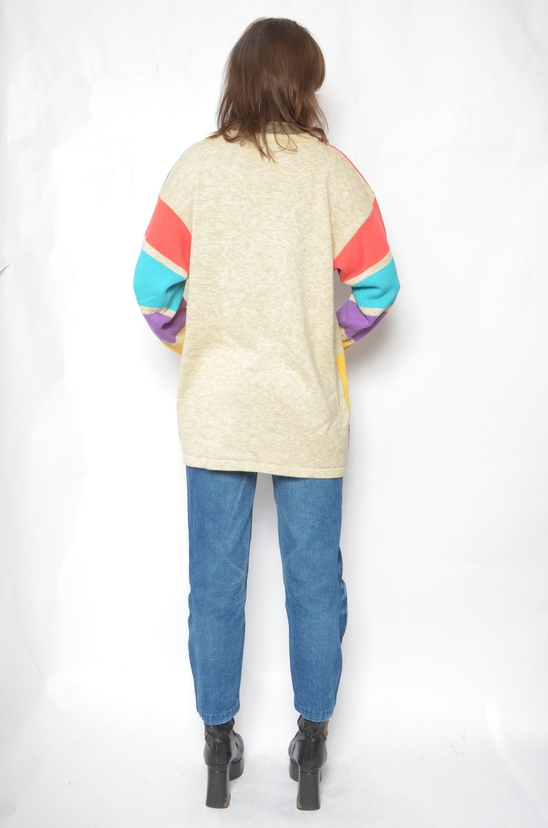Size Large Color Blocking Sweater Vintage 90s Abstract  Colorful Long Pullover