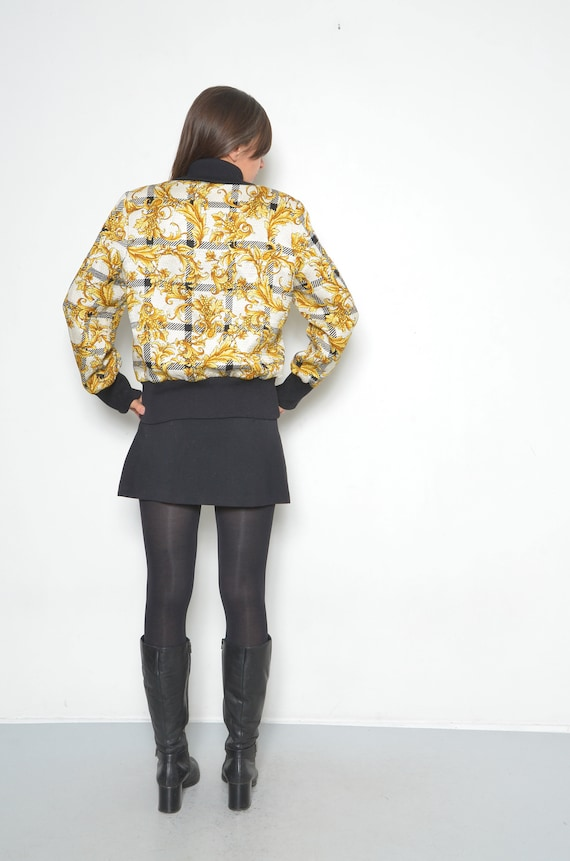 Vintage Baroque Silk And Wool Printed Bomber /90s… - image 7